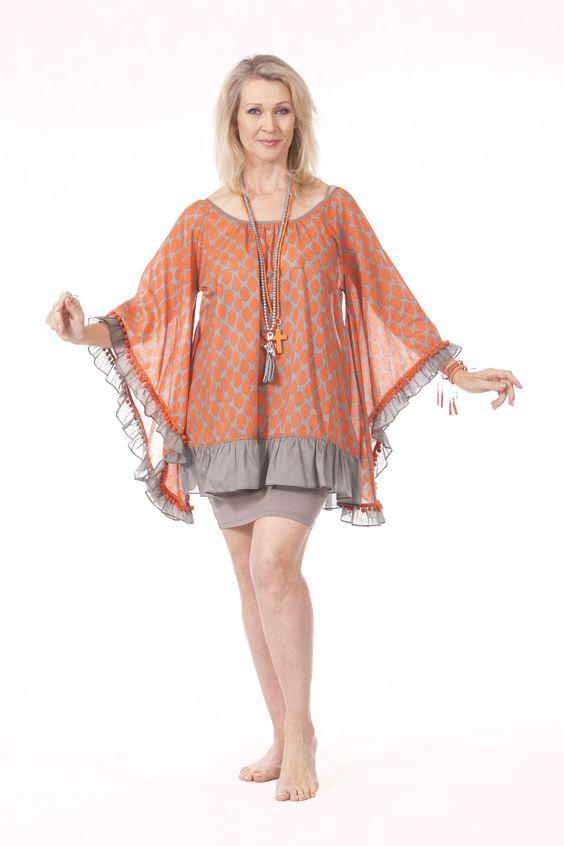 Sabrina Top in Orange & Stone