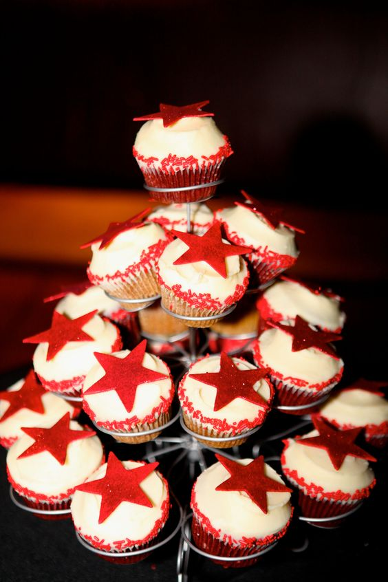 Star Cupcake Tower Display created by Betty Bakery in Brooklyn, NY.  B Lee Events NYC Party and Event Planners.