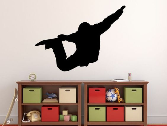 """Snowboarder Wall Decal - 27"""" x 37"""" Snowboarder Silhouette Vinyl Decal - Snowboarder 11"""