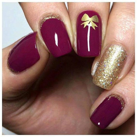 fucsia viola dorato glitter fiocco