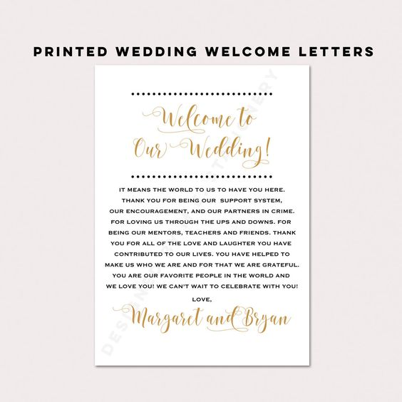 Wedding Welcome Notes Wedding Itinerary Welcome Letters Wedding Thank You Wedding Welcome