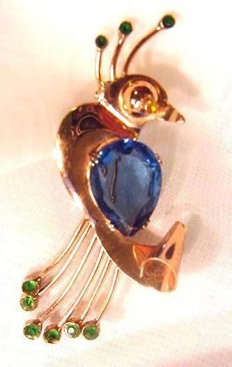 Coro Vintage Sterling Bird Pin with Rhinestones | Bitz of Glitz