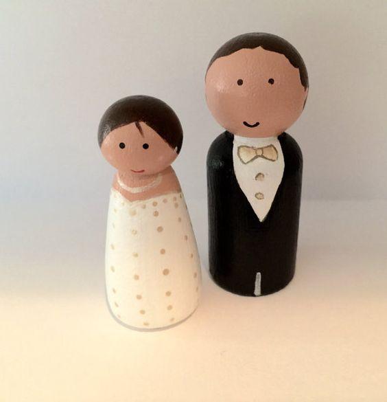 Elegant Wedding cake topper Bride and Groom peg set