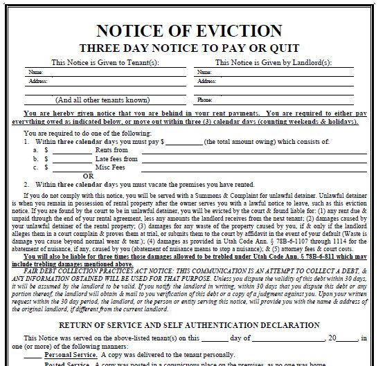 3 Day Eviction Notice Form New Utah 3 Day Notice Evictme Eviction Notice 3 Day Eviction Notice Real Estate Forms