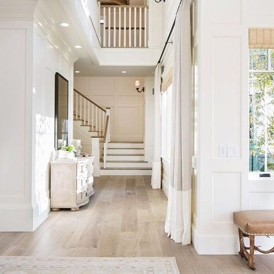 Natural light neutrals make an entrance pinterest Unstained hardwood floors