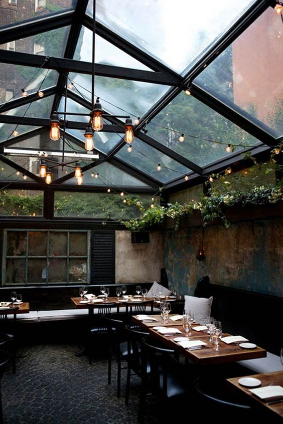 refer to this for the planter idea above the partitions in the main dining room Urban Rusticity in NYC: August Restaurant : Remodelista #bardesign #rustic #shabbychic