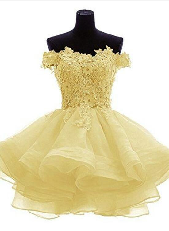 Light Yellow Off Shoulder Lovely Organza Party Dress, Cute
