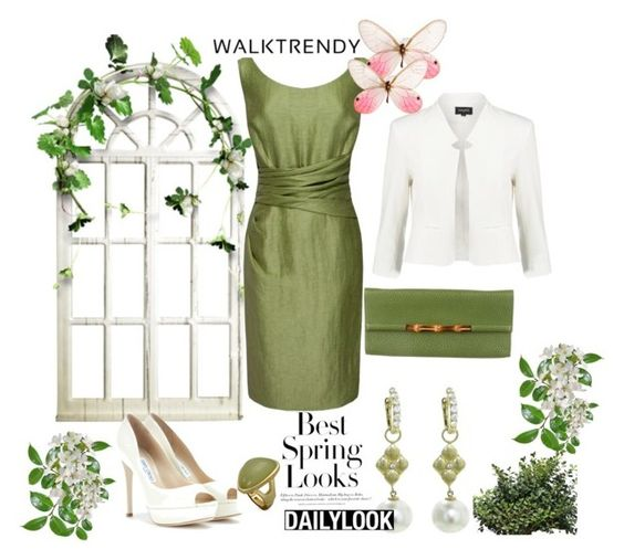 """""""Spring Evenings"""" by andrejae ❤ liked on Polyvore featuring mbyM, Kaliko, Gucci, Jimmy Choo, T Tahari and H&M"""