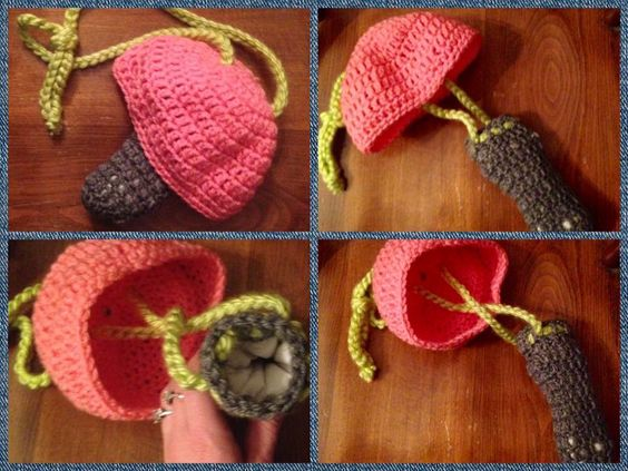 Fully crocheted double padded and lined mushroom pipe case 30.00