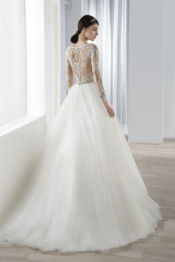 demetrios style 638 lace beaded fit'n'flare gown with tulle skirt
