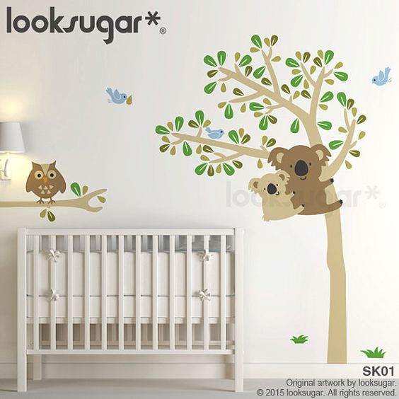 Koala Tree Wall Decal . Owl Tree Wall Decal . Baby by looksugar