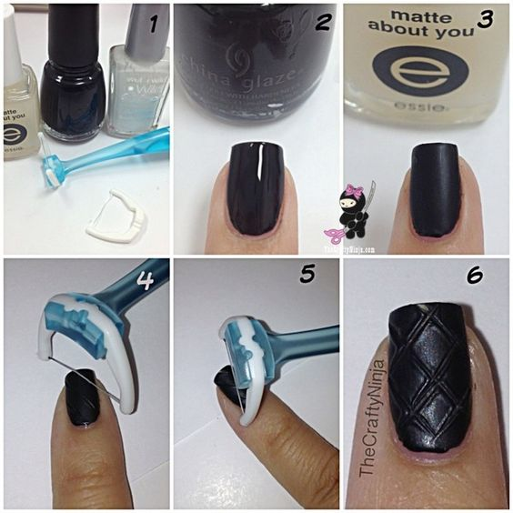 Quilted Nail Tutorial // OMG..I can totally do that! I even have that exact flosser!