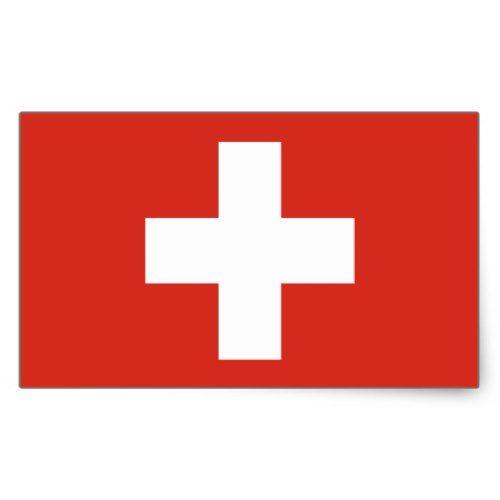 Switzerland Swiss Flag Rectangular Sticker Zazzle Com In 2020 Swiss Flag Custom Stickers Print Stickers