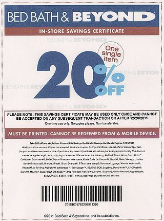 Bed Bath and Beyond offers coupon codes for online purchases or printable  20  off coupon when you sign up for the store s free newsletter  See ht. Bed Bath and Beyond offers coupon codes for online purchases or