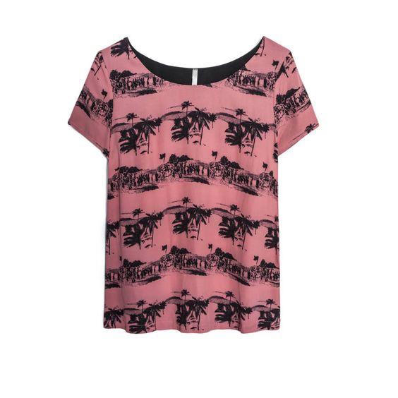 Tee-shirt I.Code Top femme imprimé palmiers sur fond rose Col rond, manches courtes Empiècement uni au dos