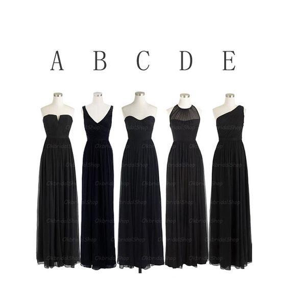 Black Bridesmaid Dresses- Mismatche - Mismatched bridesmaid ...