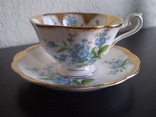 Vintage Royal Albert English Blue Floral Bone China Tea Cup and Saucer Gold Gilt