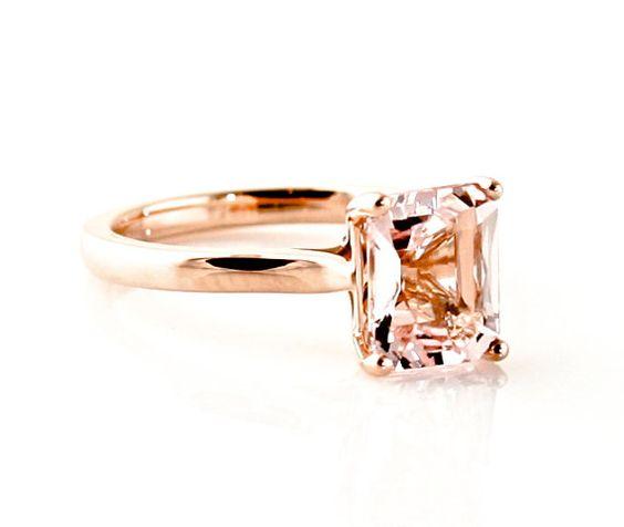 Morganite Ring 14K Rose Gold Emerald Cut Solitaire by RareEarth, $639.00