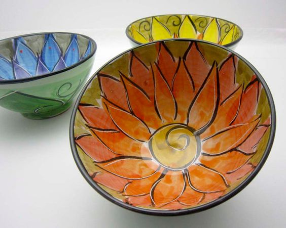 Majolica Pottery Bowl Clay Orange Red by ClayLickCreekPottery, $25.00