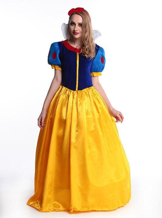 Women Fairytale Princess Snow White Long Fancy Dress Cosplay Costume Clothes New