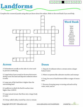 Printables Journey To The Center Of The Earth Worksheet earth science crossword landforms activities and worksheets landforms