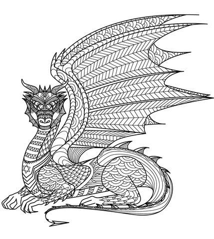 Dragon Zentangle Ausmalbild Malen Tupfen Krakeln