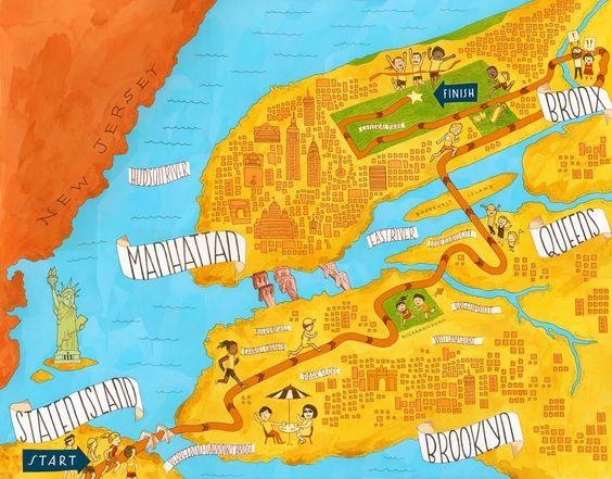 Fantástica ruta de la maratón de Nueva York.: