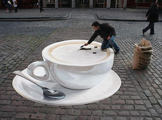 Amazing Chalk Street Art | Dump A Day Amazing 3D Street Chalk Art- Cappuccino - I really wish I could do this!