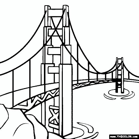 Pin By Ubbsi On Colouring Pages Golden Gate Bridge Drawing