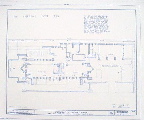 Frank Lloyd Wright Robie House Floor Plan Blueprint On