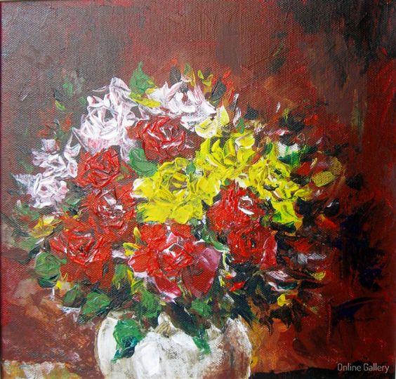 Trandafiri (l)  pictura pe panza