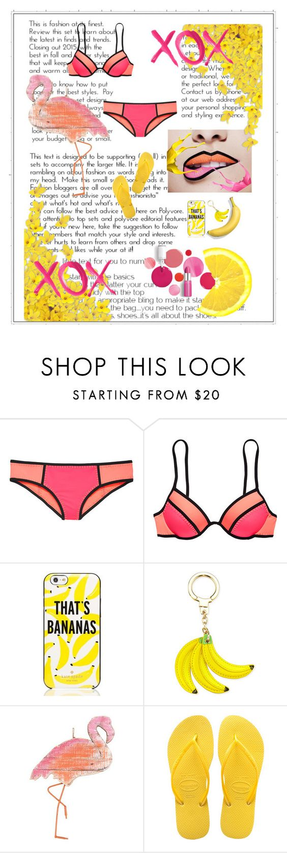 """Summer Art"" by darling16 ❤ liked on Polyvore featuring Victoria's Secret, Kate Spade, Clinique, GALA and Havaianas"