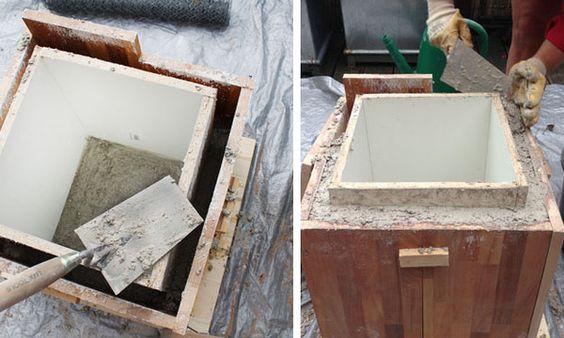 Blumentopf aus beton selber machen terrasse pinterest for Blumentopf beton
