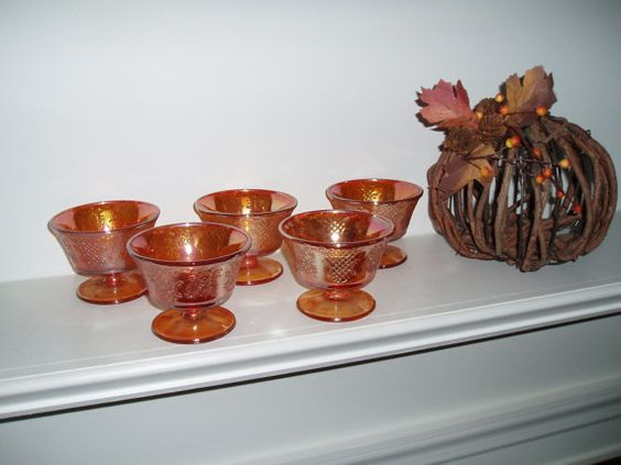 Vintage Carnival Glass Dessert Cups by PandBTreasures on Etsy, $18.00