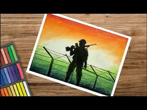 How To Draw Indian Army In Border Very Easy Youtube Army Drawing Indian Drawing Oil Pastel Drawings