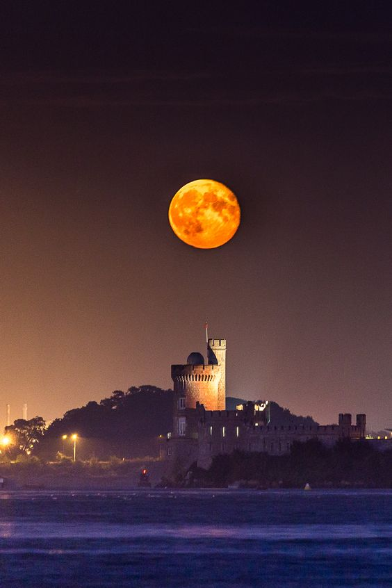 Supermoon rising over Blackrock Castle, Cork, Ireland.༺❀༺