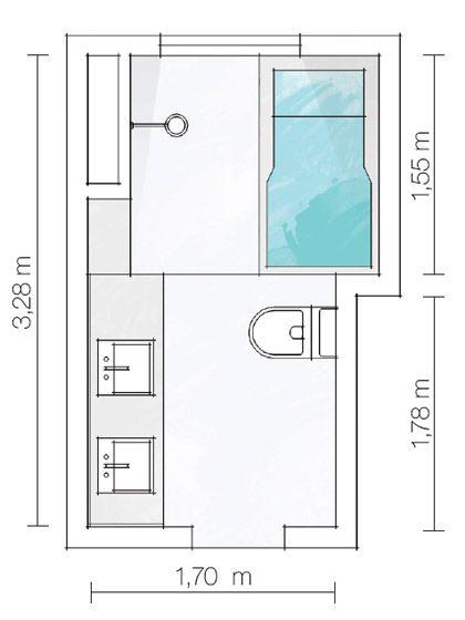 Banheiros pequenos, mas com espaço para tudo  Google -> Qual Tamanho De Banheiro Com Banheira