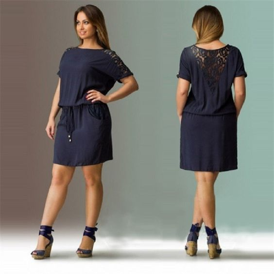 2016 Navy Summer Dress Plus Size Women Clothing Large Size Loose ...