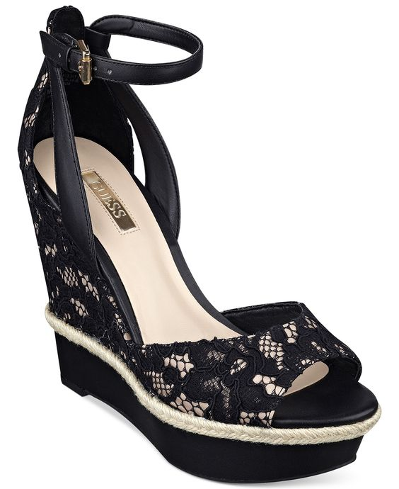 Unique By Guess Womens Sylbie Platform Sandals In Black  Lyst