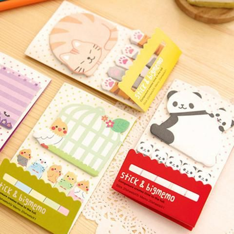 3 Piece Animal Cat Panda Cute Kawaii Sticky Notes Post It Memo Pad School Supplies Planner Stickers Paper Bookmarks Korean Stationery