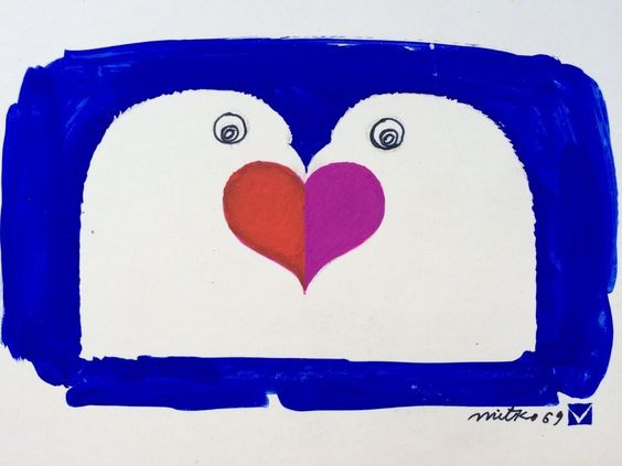 """Pretty expressionist bird-love painting, signed Mitko '69. Gouache on cardboard. Two doves with a heart in the middle. The painting is in nice condition. The """"matting"""" part of the piece has some yellowing and tiny spots."""