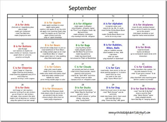Calendar Ideas For Each Month For Boyfriend : Ideas about preschool plans on pinterest