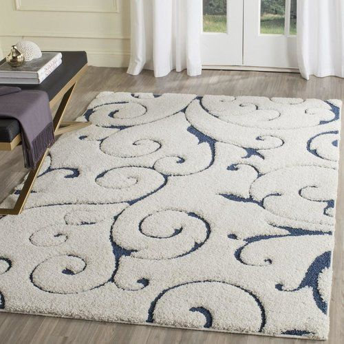 Cannock Polypropylene Cream Blue Rug Blue Area Rugs Area Rugs