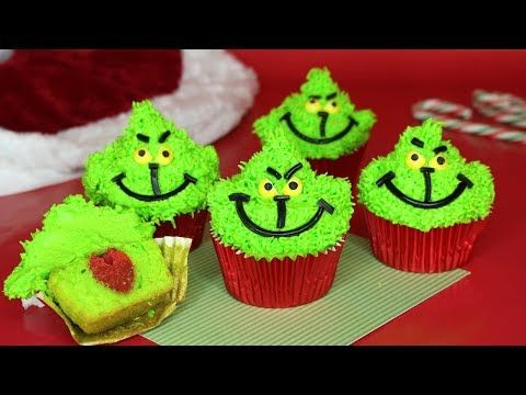 Grinch Cupcakes With 3d Hearts The Millennial Kitchen Youtube Christmas Food Christmas Baking Christmas Cupcakes