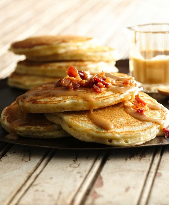 Bacon Pancakes with Maple-Peanut Butter Syrup | Recipe ...