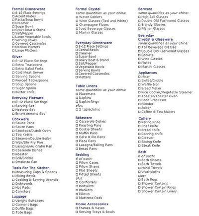 Your Essential Wedding Registry Checklist  Weddings Wedding And
