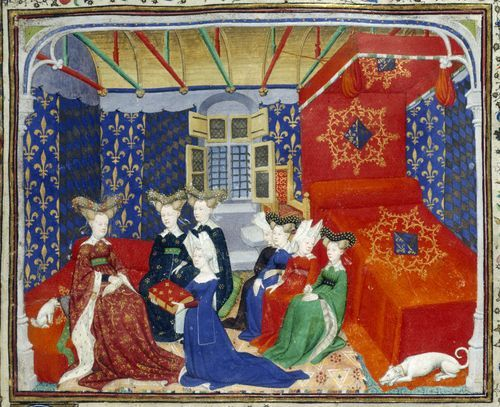 Detail of a miniature of Christine de Pizan presenting her manuscript to Queen Isabeau of Bavaria, France (Paris), c. 1410 – c. 1414, Harley MS 4431, f. 3 - See more at: http://britishlibrary.typepad.co.uk/digitisedmanuscripts/2013/06/christine-de-pizan-and-the-book-of-the-queen.html#sthash.RV4ajBMh.dpuf