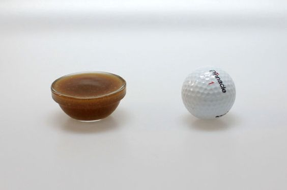 True gravy serving size ~ Southerners: We'd have a grapefruit in this pic instead of the golfball, right?  :)