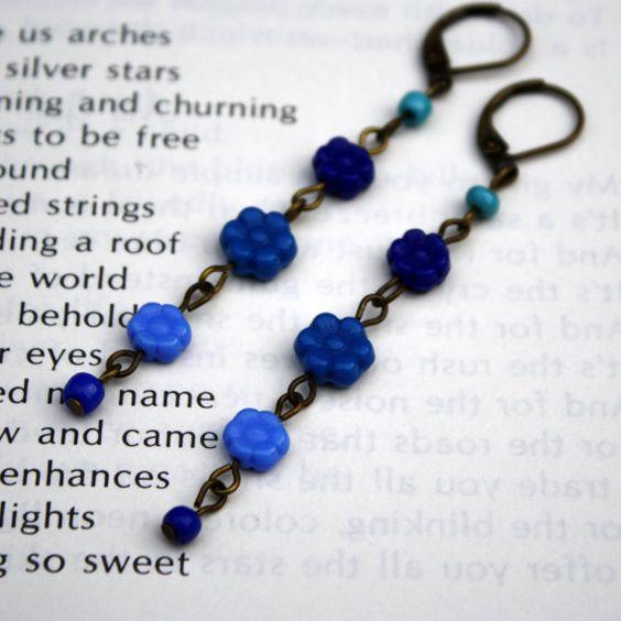 Blue Flowers long glass bead earrings by Smilingfrogs on Etsy, $6.00:
