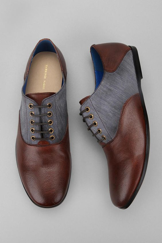 Hawkings McGill leather chambray oxford men's shoes